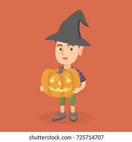 Young caucasian boy in a black witch hat holding a carved pumpkin for Halloween in hands. Full length of a smiling boy with a big yellow Halloween pumpkin. Vector cartoon illustration. Square layout.