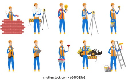 Young caucasian builder set. Builder with hammer, bricklayer building wall, painter with paint roller, engineer with blueprint. Set of vector flat design illustrations isolated on white background.