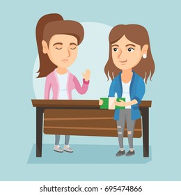 Young caucasian business woman giving a bribe to an executive. Not corrupted executive refusing to take a bribe. Honest executive rejecting to take a bribe. Vector cartoon illustration. Square layout.
