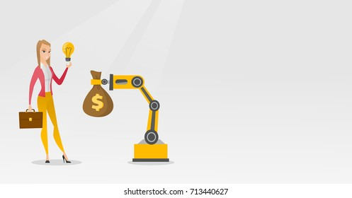 Young caucasian business woman selling idea of engineering of robotic hand. Happy business woman exchanging idea in robotic technologies for a money bag. Vector cartoon illustration. Horizontal layout