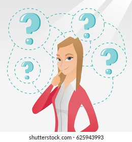 Young caucasian business woman thinking. Thinking business woman standing under question marks. Thinking business woman surrounded by question marks. Vector flat design illustration. Square layout.