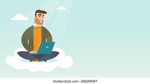Young caucasian businessman sitting on cloud and working on laptop. Hipster businessman using cloud computing technologies. Concept of cloud computing. Vector cartoon illustration. Horizontal layout.