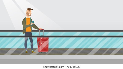 Young caucasian businessman using smartphone on an escalator at the airport. Businessman standing on escalator with suitcase and looking at smartphone. Vector cartoon illustration. Horizontal layout.