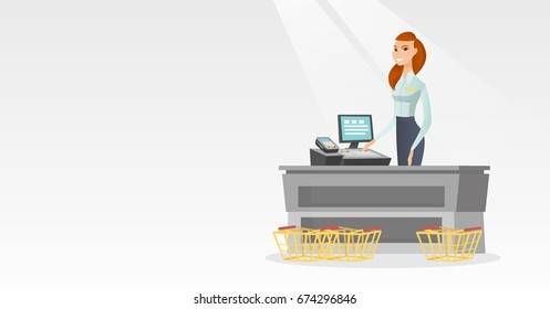 Young caucasian cashier standing at the checkout with cash register in the supermarket. Smiling cashier working at the checkout in the supermarket. Vector flat design illustration. Horizontal layout.