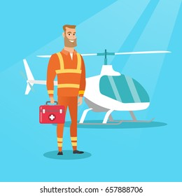 Young caucasian doctor of air ambulance. Doctor of air ambulance standing in front of rescue helicopter. Doctor of air ambulance holding first aid box. Vector flat design illustration. Square layout.