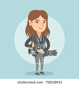 Young caucasian female photographer standing with many photo cameras equipment. Full length of a professional photojournalist with a lot of photo cameras. Vector cartoon illustration. Square layout.