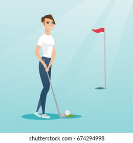 Young caucasian golfer directing a ball into a golf hole with a red flag. Professional golfer playing golf. Sport and leisure concept. Vector flat design illustration. Square layout