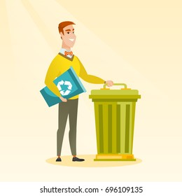 Young caucasian happy man carrying recycling bin. Smiling man holding recycling bin while standing near a trash can. Concept of waste recycling. Vector flat design illustration. Square layout.