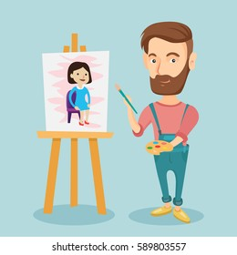 Young caucasian hipster man painting a female model on canvas. Creative smiling male artist drawing on an easel. Cheerful artist working on painting. Vector flat design illustration. Square layout.