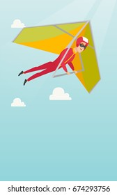Young caucasian man flying on hang-glider. Sportsman taking part in hang gliding competitions. Man having fun while gliding on deltaplane in the sky. Vector flat design illustration. Vertical layout.
