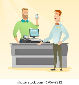 Young caucasian man paying wireless with a smartphone at the supermarket checkout. Hipster man with beard making payment for purchases with a smartphone. Vector flat design illustration. Square layout