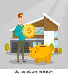 Young caucasian man putting a dollar coin in a piggy bank on the background of house. Concept of saving money and money investment in real estate. Vector flat design illustration. Square layout.