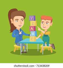 Young caucasian mother using cubes with letters to teach her son alphabet. Mother or kindergarten teacher playing with a boy with educational cubes. Vector sketch cartoon illustration. Square layout.