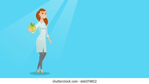 Young caucasian nutritionist prescribing diet and healthy eating. Smiling confident nutritionist holding an apple. Nutritionist offering fresh apple. Vector flat design illustration. Horizontal layout