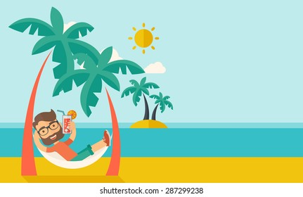A young caucasian on the beach relaxing and drinking cocktail under the heat of the sun with two coconut tree. A contemporary style with pastel palette blue tinted background with desaturated clouds