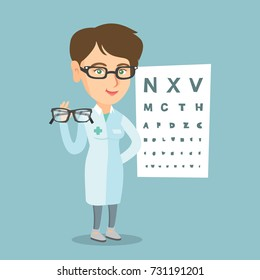 Young caucasian ophthalmologist doctor giving glasses. Ophthalmologist holding eyeglasses on the background of eye chart. Ophthalmologist offering glasses. Vector cartoon illustration. Square layout.