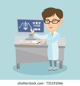 Young caucasian radiologist doctor in a medical gown examining a skeleton radiograph. Radiologist doctor looking at a chest radiograph on a computer screen. Vector cartoon illustration. Square layout.