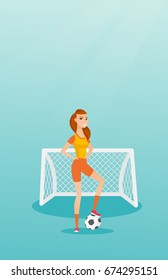 Young caucasian sportswoman standing with a football ball on the background of football gate. Football player standing with a soccer ball on the field. Vector flat design illustration. Vertical layout