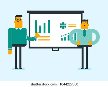 Young caucasian student explaining a project to a professor. Group of students working on a project. Two students discussing a project. Vector cartoon illustration. Horizontal layout.