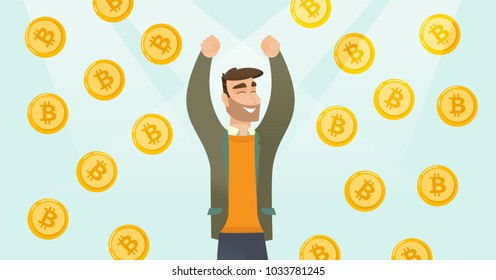 Young caucasian successful investor standing with raised hands under bitcoin coins rain and celebrating financial success in investment to blockchain network technology. Vector cartoon illustration.