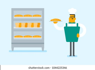 Young caucasian white baker in chef hat holding a tray with bread in the bakery. Smiling bakery worker standing near the bread rack and giving thumb up. Vector cartoon illustration. Horizontal layout.