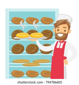 Young caucasian white baker in chef hat and apron holding a tray with bread in the bakery. Smiling hipster baker standing near the bread rack. Vector cartoon illustration isolated on white background.