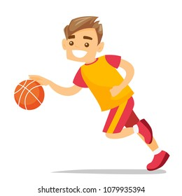 Young caucasian white basketball player running with a ball. Professional sportsman playing basketball. Concept of sport and physical activity. Vector cartoon illustration isolated on white background