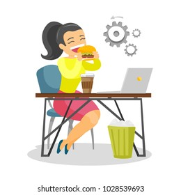 Young caucasian white business woman sitting at the workplace with laptop and eating hamburger. Concept of unhealthy nutrition. Vector cartoon illustration isolated on white background. Square layout.