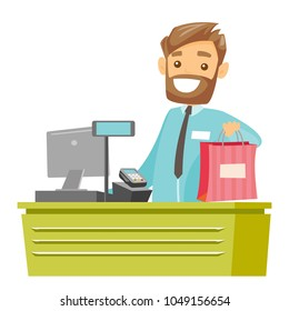 Young caucasian white cashier standing at the checkout and giving purchase. Male cashier handing over shopping bag. Vector cartoon illustration isolated on white background. Square layout.