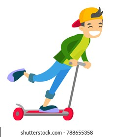 Young caucasian white cheerful active boy in baseball cap having fun while riding a kick scooter. Outdoor sport and active leisure activities. Vector cartoon illustration isolated on white background.