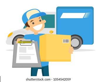 Young caucasian white courier delivering parcel box to the home of customer. Smiling delivery man giving parcel box to recipient. Delivery service concept. Vector cartoon illustration.