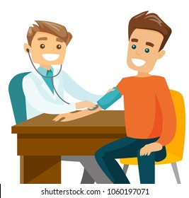 Young caucasian white doctor measuring arterial blood pressure of patient at medical check up with a stethoscope and blood pressure meter. Vector cartoon illustration isolated on white background.