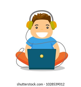 Young caucasian white fat boy in headphones playing video games on laptop. Obese teenage boy surfing on internet on computer. Vector cartoon illustration isolated on white background. Square layout.