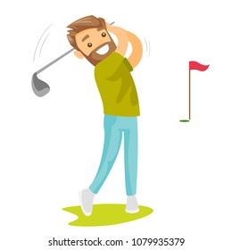 Young caucasian white golfer hitting the ball with a niblick. Professional golfer playing golf on the golf course. Concept of sport and physical activity. Vector cartoon illustration. Square layout.