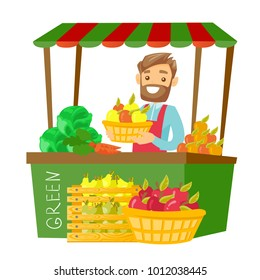 Young caucasian white hipster street seller with beard standing behind market stall with fruit and vegetables and holding basket with apples. Vector cartoon illustration isolated on white background.