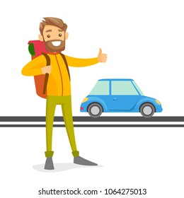 Young caucasian white man with a backpack holding thumb up to catch a taxi car. Hipster hitchhiking man trying to stop a taxi car on a highway. Vector cartoon illustration isolated on white background