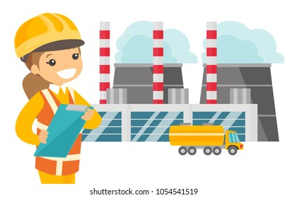 Young caucasian white man in hard hat standing on the background of nuclear power plant. Industrial engineer in workwear overseeing the electric power plant. Vector cartoon illustration. Square layout
