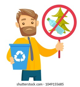Young caucasian white man holding recycling bin and do not littering in park placard. Waste recycling and take care of clean nature concept. Vector cartoon illustration isolated on white background.