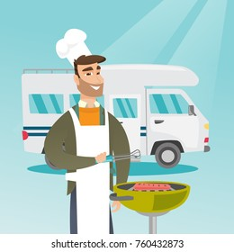 Young caucasian white man preparing meat on grill on the background of camper van. Man travelling by camper van and barbecuing meat outdoors. Vector cartoon illustration. Square layout.