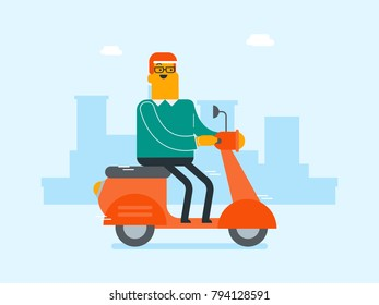Young caucasian white man riding a scooter outdoor. Smiling businessman traveling on a scooter on a city background. Man enjoying his trip on a motorcycle. Vector cartoon illustration.