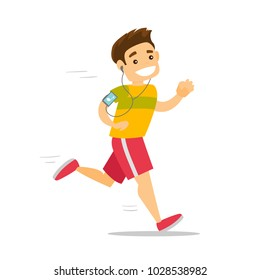 Young caucasian white man running with earphones and armband for smartphone. Man using phone with armband to listen to music during jogging. Vector cartoon illustration isolated on white background.