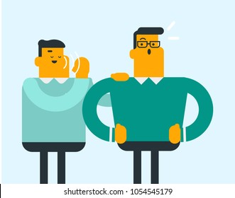 Young caucasian white man shielding his mouth and speaking in a whisper a gossip to his friend. Two men sharing and discussing gossip. Vector cartoon illustration. Horizontal layout.