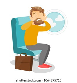 Young caucasian white man shocked by plane flight in the turbulent area. Frightened airplane passenger sitting in airplane seat and suffering from phobia. Vector cartoon illustration. Square layout.