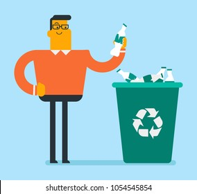 Young caucasian white man throwing a used plastic bottle into a recycling bin. Concept of plastic recycling and environmental protection. Vector cartoon illustration. Square layout.
