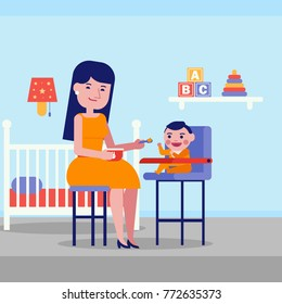 Young caucasian white mother feeding with a porridge her little baby sitting on kids chair at home in the living room. Mother feeding baby with a spoon. Vector cartoon illustration. Square layout.