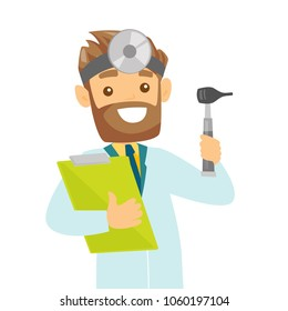 Young caucasian white otolaryngologist doctor holding clipboard. Audiologist doctor in medical gown with tools used for examination of ear, nose, throat. Vector cartoon illustration. Square layout.