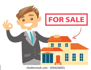 Young caucasian white real estate agent offering the house for sale. Real estate agent showing ok sign during presentation of a house for sale. Vector cartoon illustration isolated on white background