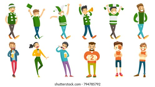 Young caucasian white sport fans set. Group of sport fans cheering for their team, friends drinking beer and singing karaoke together. Set of vector cartoon illustrations isolated on white background.