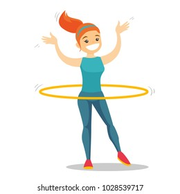 Young caucasian white sportswoman doing fitness exercises with hula hoop. Cheerful woman at workout with hoop for her waist. Vector cartoon illustration isolated on white background. Square layout.