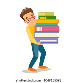 Young caucasian white tired college student carrying a heavy pile of books. University student walking with huge stack of books. Vector cartoon illustration isolated on white background. Square layout